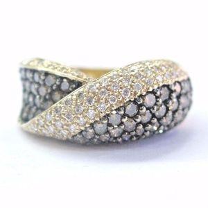 Fine Multi Color Diamond Yellow Gold Criss Cross R